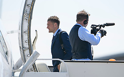 © Licensed to London News Pictures. 06/06/2016. Luton, UK. JAMIE VARDY joins other members of England national football squad as they board a plane at Luton airport in Bedfordshire, England, to head for their training camp in France, ahead of the start of the UEFA Euro 2016 championships.  Photo credit: Ben Cawthra/LNP