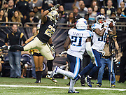 NEW ORLEANS, LA - NOVEMBER 8:  B.W. Webb #38 of the Tennessee Titans intercepts a pass thrown to Mark Ingram #22 of the New Orleans Saints at Mercedes-Benz Superdome on November 8, 2015 in New Orleans, Louisiana.  The Titans defeated the Saints in overtime 34-28.  (Photo by Wesley Hitt/Getty Images) *** Local Caption *** B.W. Webb; Mark Ingram