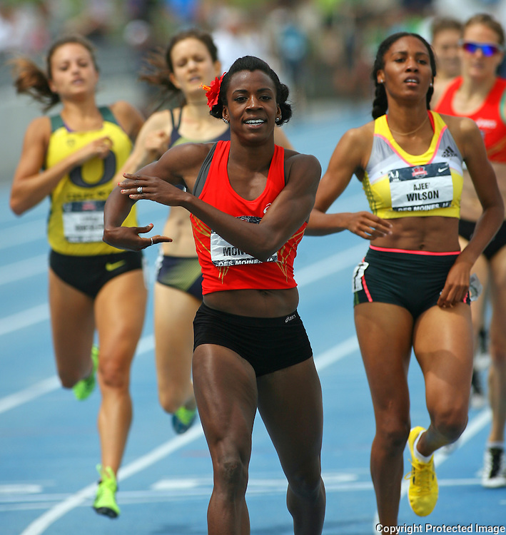 MONTANO - 13USA, Des Moines, Ia. -  Alysia Montano finished with a smile after winning the 800. Photo by David Peterson