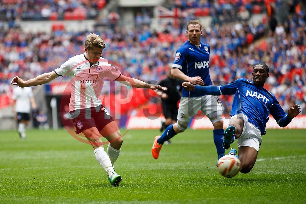 Peterborough Midfielder Lloyd Isgrove (ENG) shoots - Photo mandatory by-line: Rogan Thomson/JMP - 07966 386802 - 30/03/2014 - SPORT - FOOTBALL - Wembley Stadium, London - Chesterfield FC v Peterborough United - Johnstone's Paint Trophy Final.