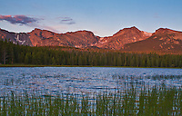 Bierstadt Lake at sunrise below the Continental Divide. Rocky Mountain National Park, Colorado.