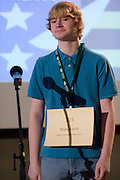 Riley Klech of Logan-Hocking Middle School introduces himself during the Southeastern Ohio Regional Spelling Bee Regional Saturday, March 16, 2013. The Regional Spelling Bee was sponsored by Ohio University's Scripps College of Communication and held in Margaret M. Walter Hall on OU's main campus.