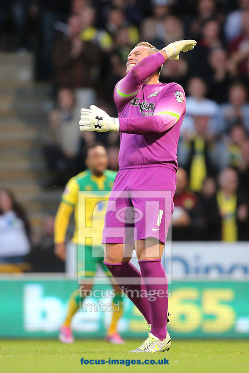 Paul Robinson of Blackburn Rovers cannot hide his frustration after conceding the equalising goal after saving the initial penalty from Lewis Grabban of Norwich City during the Sky Bet Championship match at Carrow Road, Norwich<br /> Picture by Richard Calver/Focus Images Ltd +447792 981244<br /> 19/08/2014