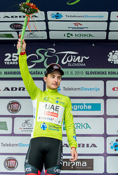 Winner Simone Consonni of UAE celebrates in green jersey as best in Overall classiffcation during trophy ceremony after the 1st Stage of 25th Tour de Slovenie 2018 cycling race between Lendava and Murska Sobota (159 km), on June 13, 2018 in  Slovenia. Photo by Vid Ponikvar / Sportida
