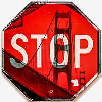 "Sunrise Under GG Bridge Transfer on 30""x30"" Stop Sign"