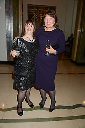 "Left to right, KATIE POWELL and CAROL BOYS Chief Executive of the Down's Syndrome Association at an ""Evening With Damon Hill'  a dinner and talk in aid of the Downs Syndrome Association held at Claridge's, Brook Street, London on 7th November 2013."