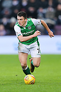 John McGinn (#7) of Hibernian in action during the William Hill Scottish Cup 4th round match between Heart of Midlothian and Hibernian at Tynecastle Stadium, Gorgie, Scotland on 21 January 2018. Photo by Craig Doyle.