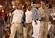 25 OCTOBER 2008: Texas A&M offensive coordinator Nolan Cromwell yells at an official in the second half of an NCAA college football game between Iowa State and Texas A&M, at Jack Trice Stadium in Ames, Iowa on Saturday Oct. 25, 2008. Texas A&M beat Iowa State 49-35.
