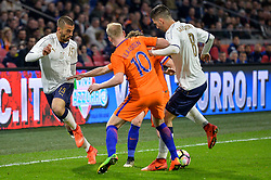 March 28, 2017 - Amsterdam, Netherlands - Roberto Gagliardini from Italy passes the ball to Leonardo Spinazzola from Italy during the friendly match between Netherlands and Italy on March 28, 2017 at the Amsterdam ArenA in Amsterdam, Netherlands. (Credit Image: © Andy Astfalck/NurPhoto via ZUMA Press)