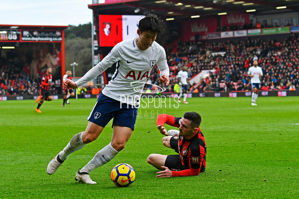 Son Heung-Min (7) of Tottenham Hotspur gets past Lewis Cook (16) of AFC Bournemouth during the Premier League match between Bournemouth and Tottenham Hotspur at the Vitality Stadium, Bournemouth, England on 11 March 2018. Picture by Graham Hunt.