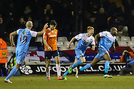 Emile Sinclair of York City (right) celebrates scoring his team's second goal to make it 0-2 during the Sky Bet League 2 match at Kenilworth Road, Luton<br /> Picture by David Horn/Focus Images Ltd +44 7545 970036<br /> 10/02/2015