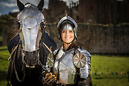 British Olympic cycling gold medalist Victoria Pendleton learning to joust at Kenilworth Castle in Warwickshire.<br /> Picture date: Thursday June 15, 2017.<br /> Photograph by Christopher Ison for English Heritage &copy;<br /> 07544044177<br /> chris@christopherison.com<br /> www.christopherison.com
