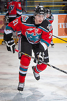 KELOWNA, CANADA - NOVEMBER 30: Justin Kirkland #23 of the Kelowna Rockets warms up against the Kamloops Blazers on November 30, 2013 at Prospera Place in Kelowna, British Columbia, Canada.   (Photo by Marissa Baecker/Shoot the Breeze)  ***  Local Caption  ***