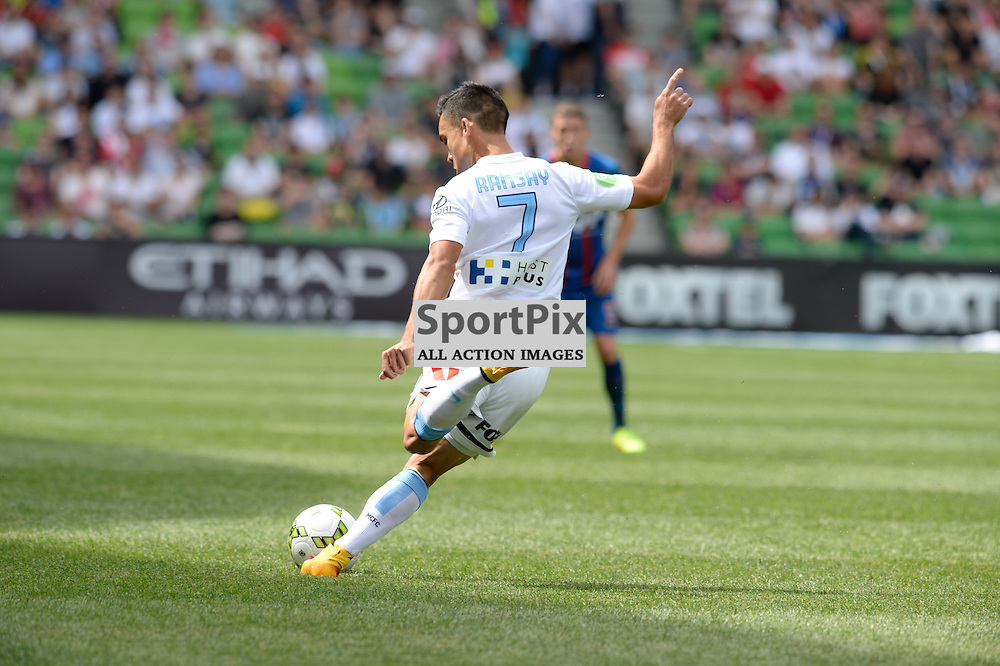Iain Ramsay crosses the ball. The Hyundai A-League match between Melbourne City &amp; Newcastle Jets held at AAMI Park, Melbourne, Victoria on 19th October 2014.<br /> MARK AVELLINO | SportPix.org.uk