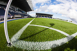 The corner flag at The Falkirk Stadium, with the new pitch work for the Scottish Championship game v Morton. The woven GreenFields MX synthetic turf and the surface has been specifically designed for football with 50mm tufts compared with the longer 65mm which has been used for mixed football and rugby uses.  It is fully FFA two star compliant and conforms to rules laid out by the SPL and SFL.<br /> &copy;Michael Schofield.