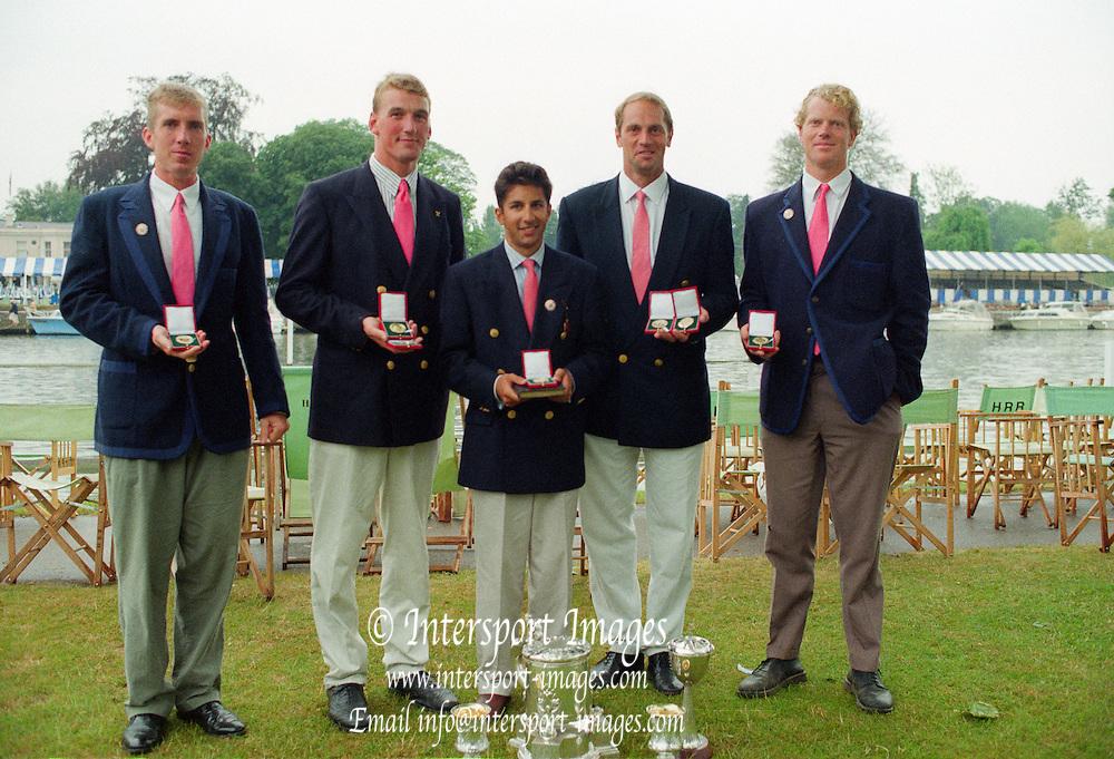 Henley Royal Regatta 1995, Prince Phillip, winners. left to right.  Joe MICHELS, Matthew PINSENT, Neil CHUGANI, Steven REDGRAVE and Larry REED, [Mandatory Credit: Peter SPURRIER/Intersport Images]