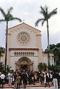 The fashion industry gathers for a memorial service at St. Patrick Catholic Church for murdered designer Gianni Versace July 19, 1997 in Miami, FL.  Versace was murdered outside his Miami Beach home at the age of 50 by spree killer Andrew Cunanan.