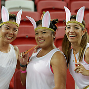 The Easter Bunnies arrived a few days early at the Singapore Sevens, Day 1, National Stadium, Singapore.  Photo by Barry Markowitz, 4/15/17