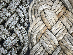 Neatly braided ropes are stored on the deck of the M/V LeConte. The LeConte is a ferry in the Alaska Marine Highway system. It often travels the northern Lynn Canal route between Juneau, Haines and Skagway.