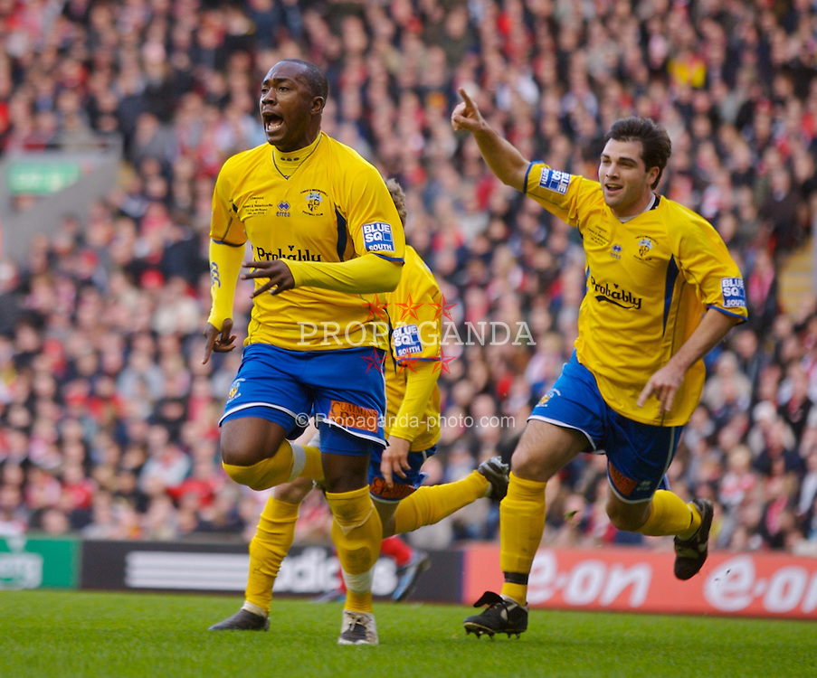 LIVERPOOL, ENGLAND - Saturday, January 26, 2008: Havant and Waterlooville's Richard Pacquette celebrates scoring the opening goal against Liverpool during the FA Cup 4th Round match at Anfield. (Photo by David Rawcliffe/Propaganda)