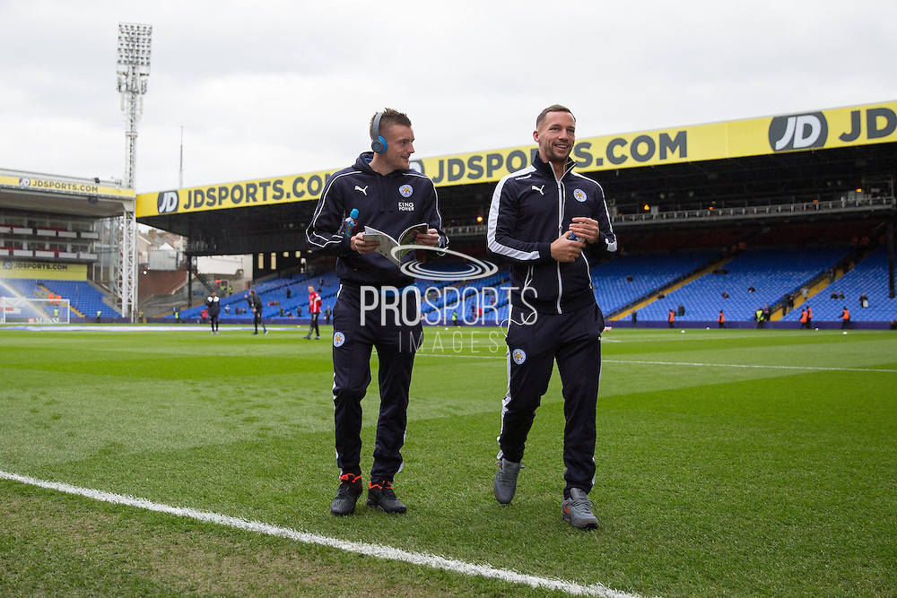 Leicester City forward Jamie Vardy (9) and Leicester City midfielder Danny Drinkwater (4) in warm up before the Barclays Premier League match between Crystal Palace and Leicester City at Selhurst Park, London, England on 19 March 2016. Photo by Phil Duncan.
