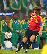 Carles Puyol  during the soccer match of the 2009 Confederations Cup between Spain and South Africa played at the Freestate Stadium,Bloemfontein,South Africa on 20 June 2009.  Photo: Gerhard Steenkamp/Superimage Media.