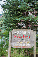 Welcome sign to Redstone, Colorado.