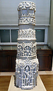 Marble pillar from a Jain temple Western India. 11th century AD. Architectural elements in Indian temples are invariably covered in ornamental geometric patterns, foliage, animals and deities. This column shaft is square at the base, then octagonal and round at the top.