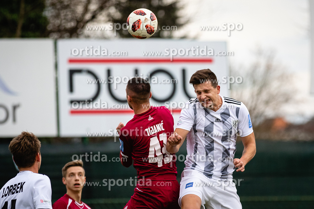 Luka Susnjara of NS Mura and David Tijanic of NK Triglav Kranj during football match between NŠ Mura and NK Triglav in 19th Round of Prva liga Telekom Slovenije 2018/19, on December 9, 2018 in Fazanerija, Murska Sobota, Slovenia. Photo by Blaž Weindorfer / Sportida