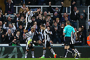 Newcastle United forward Yoan Gouffran (20) scores a goal and celebrates to make the score 1-0 during the EFL Sky Bet Championship match between Newcastle United and Aston Villa at St. James's Park, Newcastle, England on 20 February 2017. Photo by Simon Davies.