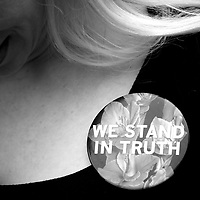 Grief counselor Caroline Heldman wears a pin in solidarity with Bill Cosby accusers outside the Montgomery County Courthouse on the opening day of the sexual assault trial June 5, 2017 in Norristown, Pennsylvania. A former Temple University employee alleges that the entertainer drugged and molested her in 2004 at his home in suburban Philadelphia. 60 women have accused the 79 year old entertainer of sexual assault. (Photo by Mark Makela/Getty Images)