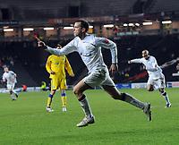Fotball<br /> England<br /> Foto: Fotosports/Digitalsport<br /> NORWAY ONLY<br /> <br /> Milton Keynes Dons v Colchester United Coca Cola League One 12.01.09 <br /> <br /> Aaron Wilbraham celebrates MK Don's 1st goal