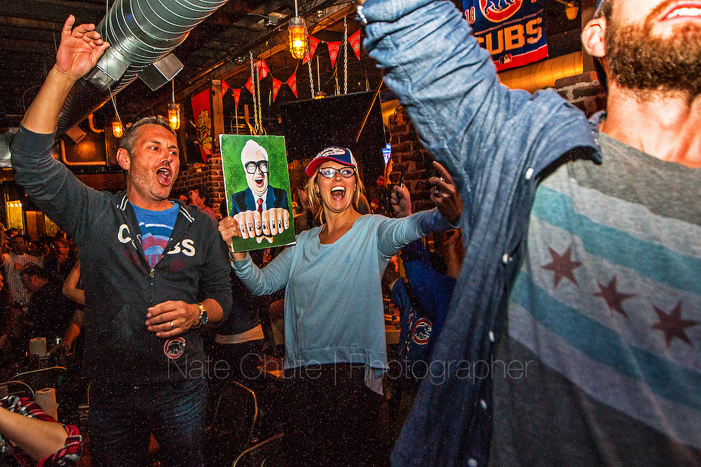 Cubs fans celebrate their team's first World Series victory in 108 years at DT Kirbys in Lafayette, Ind. on Wednesday, November 2, 2016.<br /> <br /> Nate Chute | Photographer