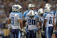 Tennesse quarterback Steve McNair (9) and the Titan offense during game action against St. Louis at the Edward Jones Dome in St. Louis, Missouri, Sept. 25, 2005.  The Rams defeated the Titans 31-27.