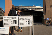 Polling station in Sant Cugat del Valles.Catalan Regional Elections, December 2017, called by Spanish Primer Minister Rajoy following the October 1st referendum on independence, and the application of Article 155 of the Spanish constitution - an attempy by Spain to maintain its unity. While right wing anti-independence party Ciudadanos won the election, they didn't get a majority - a coalition of pro-independence parties instead restored the exiled Carles Puigdemont to the Catalan presidency.