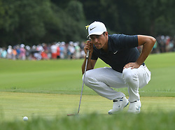 August 12, 2018 - St. Louis, Missouri, U.S. - ST. LOUIS, MO - AUGUST 12: Julian Suri lines up his putt on the #1 green during the final round of the PGA Championship on August 12, 2018, at Bellerive Country Club, St. Louis, MO.  (Photo by Keith Gillett/Icon Sportswire) (Credit Image: © Keith Gillett/Icon SMI via ZUMA Press)