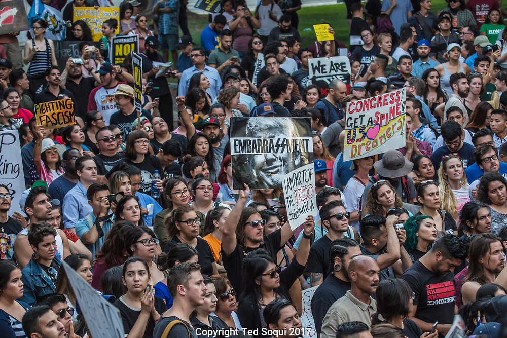 "Thousands of ""Dreamers"" and DACA supporters march in downtown LA after Trump reminded the DACA act. The March started at Olvera Street and ended at LA City Hall."