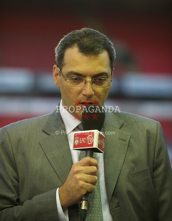 LIVERPOOL, ENGLAND - Thursday, September 29, 2011: Liverpool's Director of Football Strategy Damien Comolli during the NextGen Series Group 2 match against Molde FK at Anfield. (Pic by David Rawcliffe/Propaganda)