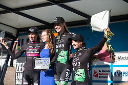 Riejanne Markus (NED) and Marianne Vos (NED) of WM3 Pro Cycling Team shares the podium with Eugenia Bujak (CRO) of BTC City Ljubljsana Cycling Team after the Omloop van Borsele - a 107.1 km road race, starting and finishing in s'-Heerenhoek on April 22, 2017, in Borsele, the Netherlands.