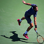 August 30, 2017 - New York, NY : Grigor Dimitrov, in blue, competes against Vaclav Safranek, not visible, in the Grandstand on the third day of the U.S. Open, at the USTA Billie Jean King National Tennis Center in Queens, New York, on Wednesday. <br /> CREDIT : Karsten Moran for The New York Times