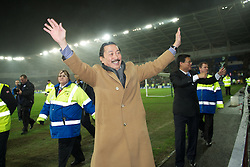 CARDIFF, WALES - Tuesday, January 24, 2012: Cardiff City's owner Tan Sri Vincent Tan Chee Yioun celebrates his side's penalty shoot-out victory over Crystal Palace during the Football League Cup Semi-Final 2nd Leg at the Cardiff City Stadium. (Pic by David Rawcliffe/Propaganda)