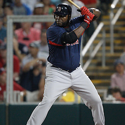 February 27, 2011; Fort Myers, FL, USA; Boston Red Sox first baseman David Ortiz (34) during a spring training exhibition game against the Minnesota Twins at Hammond Stadium.  Mandatory Credit: Derick E. Hingle