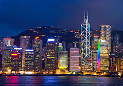 Night view of skyline with many skyscrapers in Hong Kong