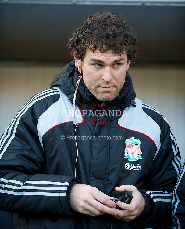 NEWCASTLE, ENGLAND - Sunday, December 28, 2008: Liverpool's goalkeeping coach Xavi Valero, with a telephone link to absent manager Rafael Benitez who continues to recover from surgery, during the Premiership match against Newcastle United at St James' Park. (Photo by David Rawcliffe/Propaganda)