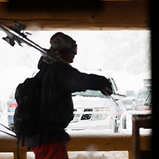Owen Dudley heads out for some powder turns at Mt Baker Ski Area