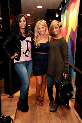 Left to right, ROCHELLE WISEMAN, MOLLIE KING and FRANKIE SANDFORD at a party to celebrate the Firetrap Watches and Kate Moross Collaboration Launch, held at Firetrap, 21 Earlham Street, London, UK on 13th October 2010.