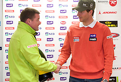 Matjaz Sarabon and Slovenian skier Andrej Jerman at press conference of Slovenian Ski Federation one day after he won during Men's Downhill of the Audi FIS Ski World Cup 2009/10 - Bormio 2009, on December 30, 2009, in SZS, Ljubljana, Slovenia.  (Photo by Vid Ponikvar / Sportida)