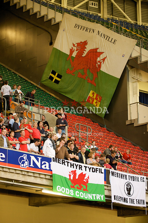 CARDIFF, WALES - Saturday, October 11, 2008: Wales supporters with 'Merthyr Tydfil' and 'Dyffryn Nantlle' banners during the 2010 FIFA World Cup South Africa Qualifying Group 4 match against Liechtenstein at the Millennium Stadium. (Photo by David Rawcliffe/Propaganda)