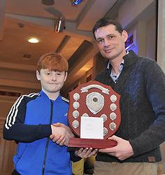 Harry Sheridan was presented Young Athlete of the Year Award from Paul McNamara Regional Athletics Officer Athletics Ireland at the Westport AC awards. Pic Conor McKeown