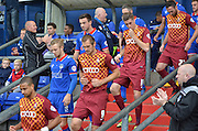 Fans applaud as the teams come out during the Sky Bet League 1 match between Oldham Athletic and Bradford City at Boundary Park, Oldham, England on 5 September 2015. Photo by Mark Pollitt.